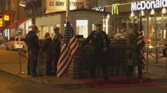 Famous spot in Berlin called Checkpoint Charlie - stock footage