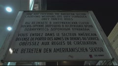 Famous sign at Checkpoint Charlie Berlin - stock footage