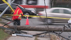 Hydro pole and power lines down in severe weather and wind storm in Mississauga Stock Footage