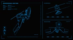Looping, orthographic view of rotating wireframe model of MRO spacecraft Stock Footage