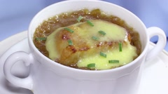 French cuisine. Onion soup Stock Footage