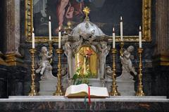 The sacred book on the church altar - stock photo