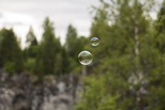 Two Soap Bubbles - stock photo