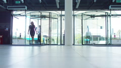 4K Diverse business team walking through lobby area of modern office building Stock Footage