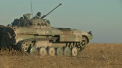 Infantry fighting vehicle on the batlefield Stock Footage