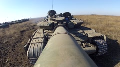 Tank is moving forward  with camera on the large-calibre cannon - stock footage