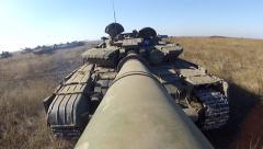 Tank is moving back with camera on the large-calibre cannon - stock footage