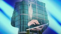 Double exposure of businessman with tablet and London office building 4k Stock Footage