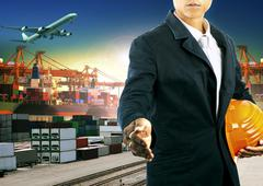 professional  working man  in freight import export logistic industry - stock photo
