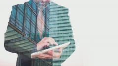 Business concept, double exposure London city office building and businessman - stock footage