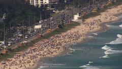 Aerial view of People on Sandy Beach in Rio de Janeiro Stock Footage