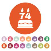 The birthday cake with candles in the form of number 74 icon. Birthday symbol Stock Illustration