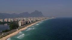 Aerial view of Barra da Tijuca Beach, Rio de Janeiro Stock Footage