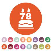 The birthday cake with candles in the form of number 78 icon. Birthday symbol - stock illustration