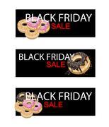 Stock Illustration of Glazed Donuts on Black Friday Sale Banner