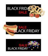 Snack Food on Black Friday Sale Banner - stock illustration