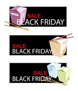 Food Boxs on Black Friday Sale Banner Stock Illustration