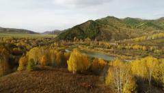 4K UHD Aerial Above Autumn Lanscape Mountains Forest and River - stock footage