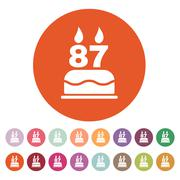 The birthday cake with candles in the form of number 87 icon. Birthday symbol - stock illustration