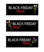 Stock Illustration of Tulip Flowers on Black Friday Sale Banner