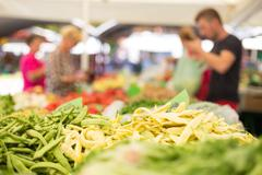 Farmers' food market stall with variety of organic vegetable. - stock photo