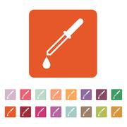 The pipette icon. Dropper and eyedropper, analysis, chemistry symbol. Flat Stock Illustration