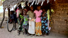 Africa native village children posing to camera Stock Footage