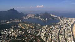 Aerial view of Corcovado Hill and Botafogo Bay, Rio de Janeiro - stock footage