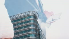 London office building double exposure businessman using tablet 4k Stock Footage
