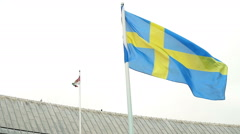 Swedish flag - slowmotion Stock Footage