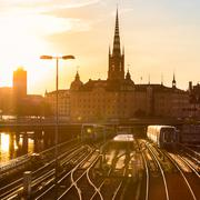 Railway tracks and trains in Stockholm, Sweden. - stock photo