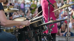 Woman drummer on the funky concert - Slowmotion Stock Footage