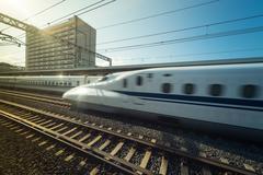 high speed japanese train called shinkansen - stock photo