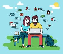Couple with laptop outdoors Stock Illustration
