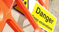 Danger deep excavations Stock Footage