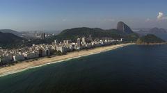 Aerial zoom in view of Copacabana Beach, Rio de Janeiro, Brazil. Stock Footage