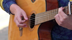 Acoustic guitar; street artist Stock Footage