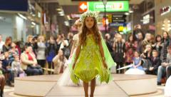 Stock Video Footage of LIttle girl models walking on catwalk on the fashion clothes show