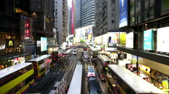 Hong Kong traffic and shoppers real time cityscape Stock Footage