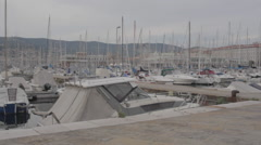 Boat in the Trieste Pier Stock Footage