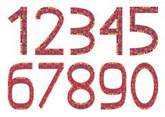 Stock Illustration of Set of ten colorful numbers isolated on white background
