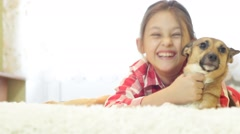 Children and pets Stock Footage