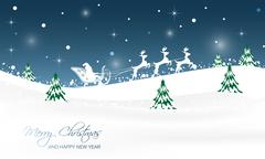 Christmas landscape with trees, glitter, snow and Santa in a sleigh with rein Stock Illustration