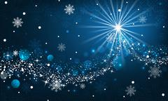 Abstract winter background. Snowfall, sparkle, snowflakes on a blue dark back - stock illustration