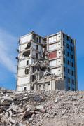 Demolished house before reconstruction - stock photo