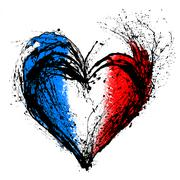 symbolic  heart in the colors of the French flag - stock illustration