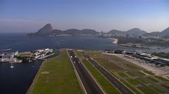 Low angle aerial view of Rio de Janeiro Bay Stock Footage
