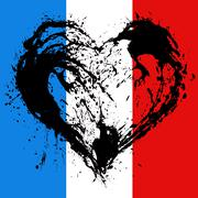 Symbolic  heart in the colors of the French flag Stock Illustration