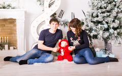Stock Photo of Christmas Family Portrait In Home , House Decorating By Xmas Tree