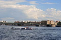 Pleasure boat on the Neva. Stock Photos